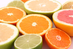 Citrus fruits. Half of Oranges, limes, grapefruits, lemon and tangerine. Citrus fruits on white background close up stock images