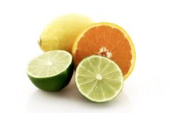 Citrus fruits. Various citrus fruits on a white background Royalty Free Stock Photography