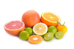 Citrus fruits. Isolated on the white Royalty Free Stock Photo
