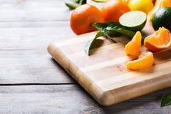 Citrus fruits background. Orange, grapefruit, tangerine, lime, lemon vitamin Stock Photo