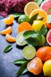 Citrus fruits background. Orange, grapefruit, tangerine, lime, lemon vitamin Royalty Free Stock Photo