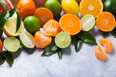 Citrus fruits background. Orange, grapefruit, tangerine, lime, lemon vitamin Royalty Free Stock Photos