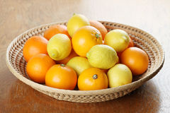 Citrus fruits in a basket Royalty Free Stock Image