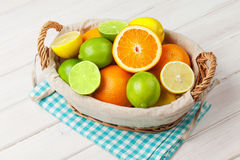 Citrus fruits in basket. Oranges, limes and lemons Stock Photos