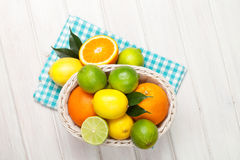 Citrus fruits in basket. Oranges, limes and lemons Royalty Free Stock Photos