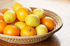 Citrus fruits in a basket Royalty Free Stock Photography