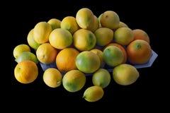 Citrus fruits on black background Royalty Free Stock Images