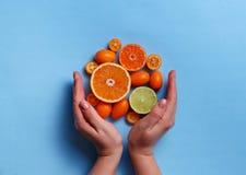 Citrus fruits on a blue background. Citrus fruits with hands on a blue background royalty free stock photography