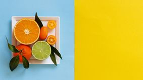 Citrus fruits on a blue and yellow background. Top view royalty free stock photo