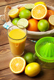Citrus fruits and glass of juice Stock Image