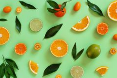 Citrus fruits on a green background. Top view stock photo