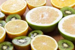 Citrus fruits healthy food, orange, lemon and kiwi Stock Photos