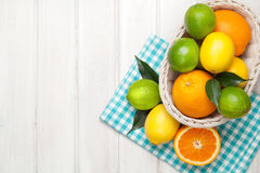 Free Citrus Fruits In Basket. Oranges, Limes And Lemons Royalty Free Stock Photos - 55000258