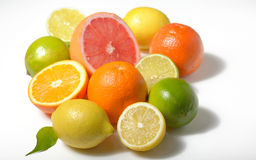 Citrus fruits  isolated on white Stock Photos
