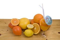 Tropical Citrus Fruit with Juice Drink Royalty Free Stock Photography