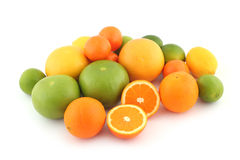 Citrus fruits; limes. oranges ... Citrus fruits - limes, grapefruits, oranges, lemon and tangerine on white background royalty free stock image