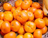 The citrus fruits at the market display stall. Citrus fruits at the market display stall royalty free stock photo