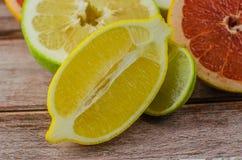 Citrus fruits orange, lemon, grapefruit, mandarin, lime royalty free stock photography