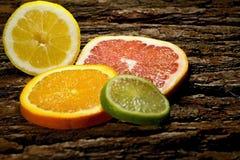 Citrus fruits orange, lemon, limet, grapefruit . Citrus fruit is the source of vitamins for our health Royalty Free Stock Photos