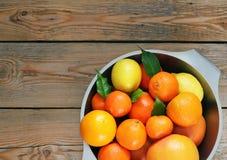 Citrus fruits - orange, lemon, tangerine Royalty Free Stock Images