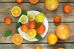 Citrus fruits - orange, lemon, tangerine, grapefruit Royalty Free Stock Photography