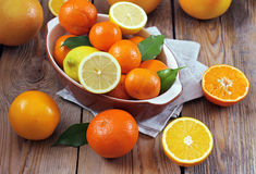 Citrus fruits - orange, lemon, tangerine, grapefruit. Beauty and health, food and drink, diet and nutrition concept. Citrus fruits (orange, lemon, tangerine Royalty Free Stock Photography