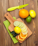 Citrus fruits. Oranges, limes and lemons Stock Photo