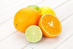 Citrus fruits. Oranges, limes and lemons Stock Images