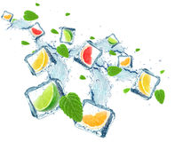 Citrus fruits splash Royalty Free Stock Images