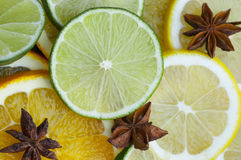 Citrus Fruits And Star Anise. Lime, lemon, orange slices with star anise royalty free stock photography