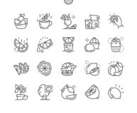 Citrus Fruits Well-crafted Pixel Perfect Vector Thin Line Icons 30 2x Grid for Web Graphics and Apps. stock illustration