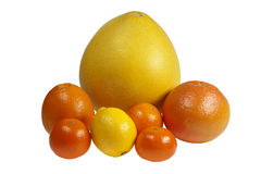 Citrus fruits on a white background Royalty Free Stock Photography
