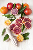 Citrus fruits on wooden background Stock Photo