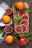 Citrus fruits on wooden background Stock Image