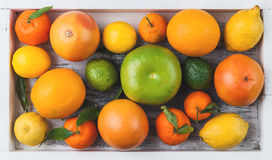 Citrus fruits in a wooden box Royalty Free Stock Photography