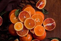 Still life of oranges.  Orange Mountain. Close-up. stock photo