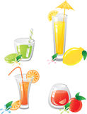 Citrus fruts and drinks. Icon set Royalty Free Stock Images