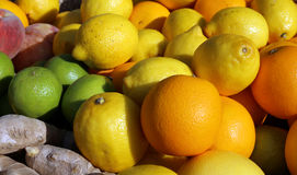 Citrus and ginger root for sale at fruit market Royalty Free Stock Photography