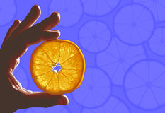 Citrus in hand. Orange fruit slice held in hand between index and big fingers against blue background of citrus shapes Stock Photo