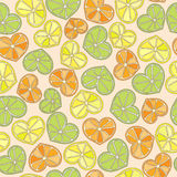 Citrus hearts seamless pattern Royalty Free Stock Images