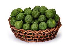 Kaffir lime in basket of wicker, for herbal medicine Stock Photo