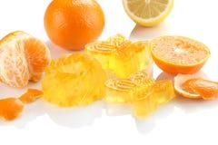 Citrus jelly, orange, lemon  on white background isolate Stock Photos