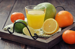 Citrus juice and fruits Royalty Free Stock Images