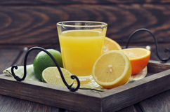 Citrus juice and fruits Royalty Free Stock Photo