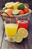 Citrus juice and fruits Stock Images
