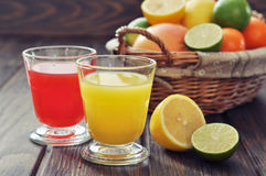 Citrus juice and fruits Stock Photo