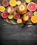 citrus klar text för bakgrund Ny citrus fruktsaft med skivor av limefrukter, apelsiner, grapefrukter och citroner Royaltyfria Bilder