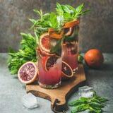 Citrus lemonad för blodapelsin med den nya mintkaramellen och is fotografering för bildbyråer