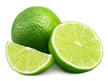 Citrus lime fruit with slice and half isolated on white stock images