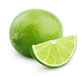 Citrus lime fruit with slice  on white Stock Images